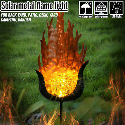 Solar Dancing Flame LED Torch Stake Flickering Outdoor Garden Lights Romantic VE