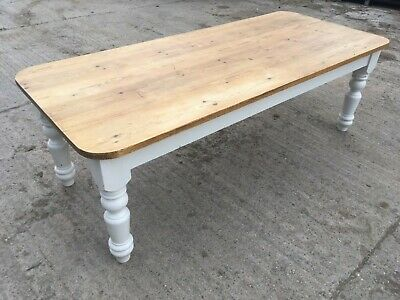 "Fantastic Old Pine 8' X 3'5"" Farmhouse Kitchen Table With Chunky Legs Scrub Top"