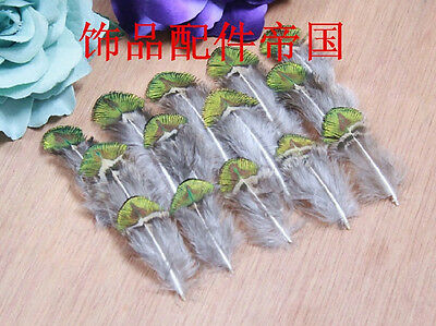 Wholesale, 10-100pcs beautiful natural peacock golden slice feathers 5-10 cm