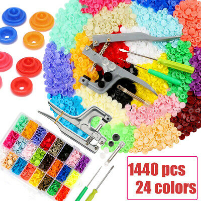 1440pcs w/ Plier Tool KAM Snap Kit T5 Plastic Snaps Fastener Buttons Press Stud