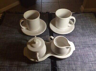 Fiesta ware WHITE -Cream and sugar set with tray and two matching mugs and sauce
