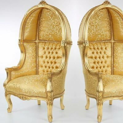 BAROCK HAUBENSESSEL GOLD THRONE SESSEL, kleiner THRON STUHL für Kids, PUPPEN...