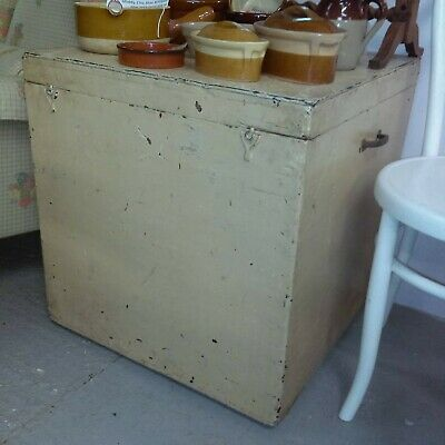 Old antique vintage square wooden chippy painted trunk with metal handles