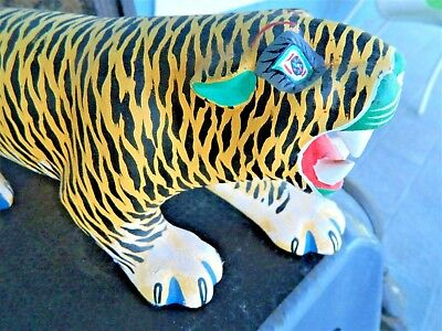 "Large 16"" Tiger  Oaxacan Wood Carving Painting Handcrafted Folk Art Mexico."