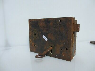 Large Victorian Iron Door Lock Antique Bolt Old 1 Key Vintage Georgian