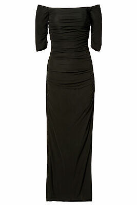 Badgley Mischka Women's Dress Black Size 14 Off-Shoulder Ruched Gown $595- #249
