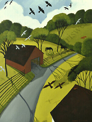 Giclee ACEO folk art print landscape BIRDS EYE VIEW aerial farm horse flying DC