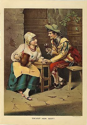 Antique Chromolithograph Vintage Victorian Art Print Flirty Couple Man & Woman