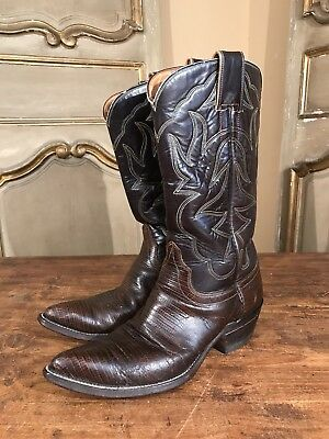 47db0f0fd0a VINTAGE MEN'S HYER Cowboy Boots Sz 8.5 D Brown Snip Toe Leather ...
