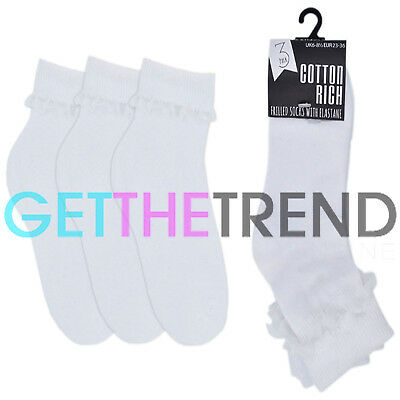 Girls Frilly Socks Kid School White Frilly Lace Ankle Cotton Footwear 12 PACK
