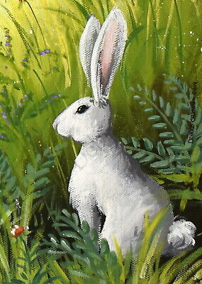 ACEO White BUNNY RABBIT Art PRINT of Painting by VERN