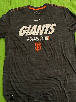 San Francisco Giants Baseball T-Shirt Athletic Cut Size Large Nike Dry-Fit Grey