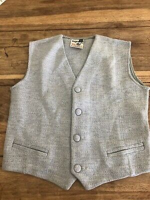 VINTAGE CHILDRENS GREY WOOL BLEND WAISTCOAT Deadstock Never Worn RETRO AGE 6