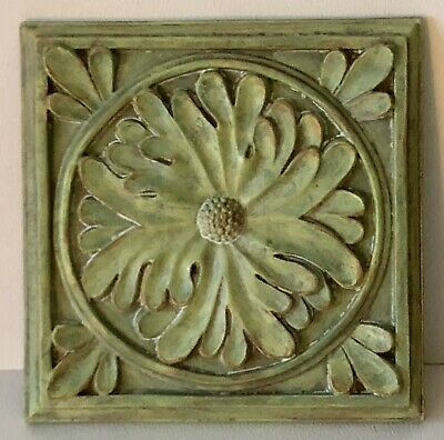 """Vintage Style Green Flower Resin Arts & Crafts Aesthetic Architectural 6"""" Tile"""