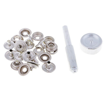 No Sew Snap Press Stud Button Leather Craft Bag Popper Fastener + Tool Kit