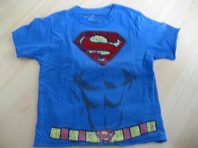 Boys 3T Blue Red DX Xtreme SUPERMAN TEE T-Shirt 3D Fuzzy Graphics CAPE DC COMICS