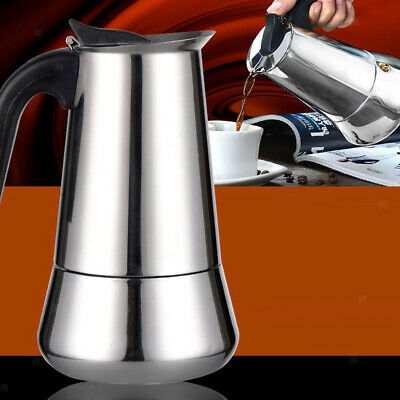 Italian Style Stove Top Espresso Coffee Maker Stainless Coffee Pot 2 Cup