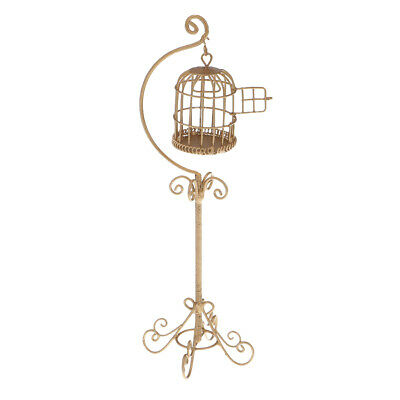 1:12 Scale Metal Bird Cage with Stand Dollhouse Miniature Gold