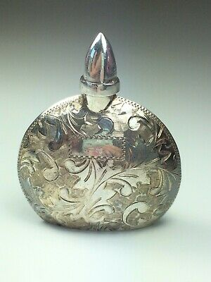 "Sterling Silver 950 Etched Perfume Bottle 1.8"" tall Purse Travel Size Vintage"