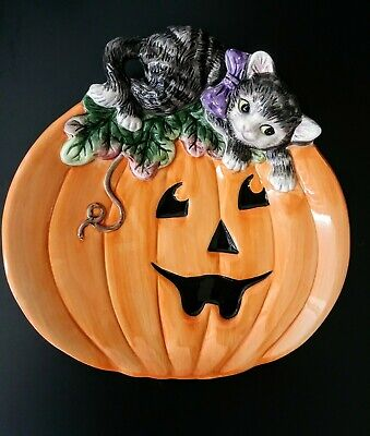 Fitz & Floyd Halloween Kitty Canape Plate Pumpkin and Cat