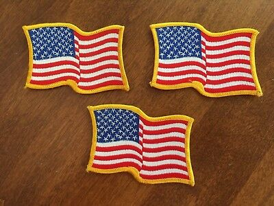 Embroidered Patch - Waving American Flag - Iron On - Gold Border - USA US U.S. 3