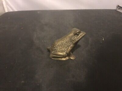 Antique, Vintage, Collectible, Paperweight, Brass Frog or Toad.