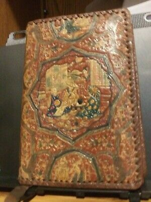 """Vintage Oriental-Themed Leather Book Cover Made in Italy For Books 7.75"""" or Less"""
