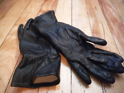 Womens FOWNES Sz 7 Black Leather Gloves - Good Condition!