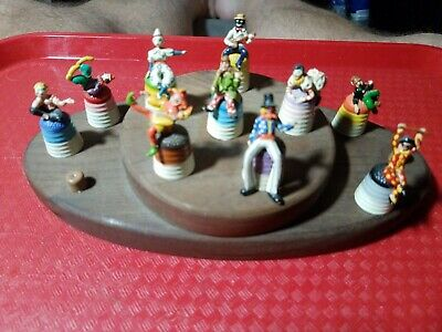 10  Rare Cavalcade Of Clowns Hand Painted Pewter Thimble - T.c.c & Base