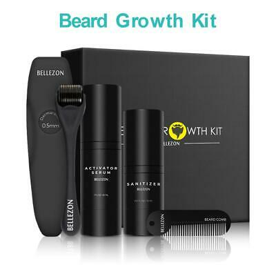 Man Beard Growth Set Activator Roller Sanitizer Comb Moustache Growing Liquid
