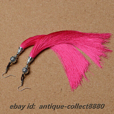 Fashion Woman Chinese Miao Silver Ball /Pink Rope Tassels Earrings Ear Stud Pair