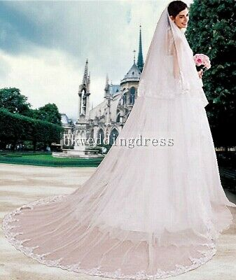 Ivory/White Wedding Accessory 2 Tiers Lace Edge Cathedral Bridal Veil With Comb