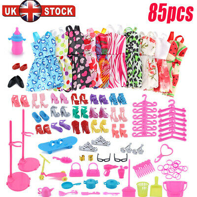 85pcs/set Barbie Doll Dresses, Shoes and jewellery Clothes Accessories Girl Gift