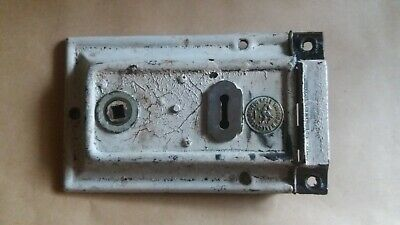 "ANTIQUE VINTAGE ORIGINAL - BEST BRITISH MAKE DRAGON BRAND-RIM DOOR LOCK -6""x 4"""
