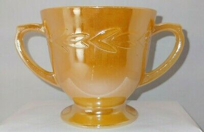 Vintage Fire King Peach Luster Open Sugar Bowl Oven Ware Wreath