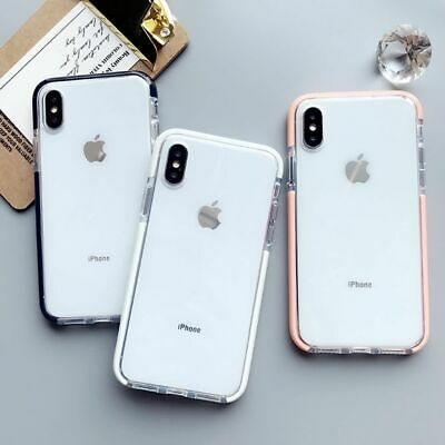 iPhone X XS MAX XR 6S 7 8 PLUS Clear Case Shockproof Tough Silicone Bumper Cover