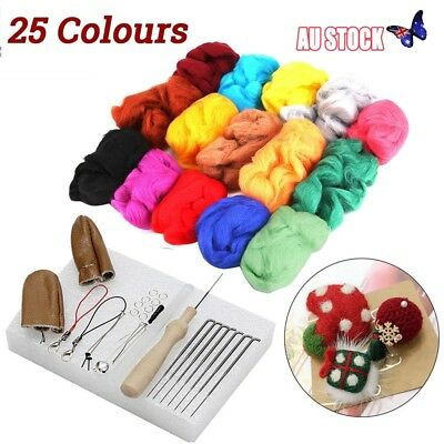 25 Colours Wool Felt Needles Tool Set + Needle Felting Mat Starter DIY Kit AU
