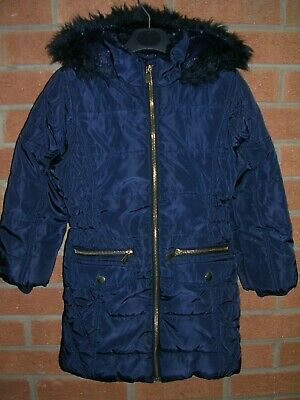 TU Girls Navy Blue Fleece Lined Winter Coat School Hooded Jacket Age 5-6 116cm