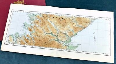 SCOTLAND, 1924 - Vintage Cloth OS map, SUTHERLAND & EASTER ROSS.