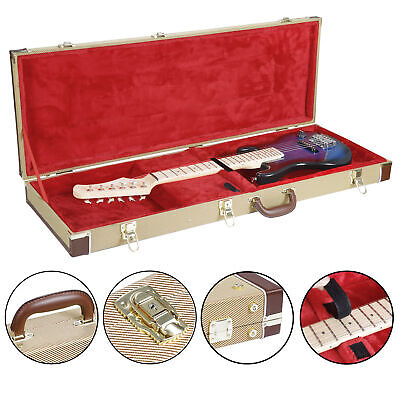 Wooden Guitar Hard Case Fits Most Standard Electric Guitars Hardshell Lockable