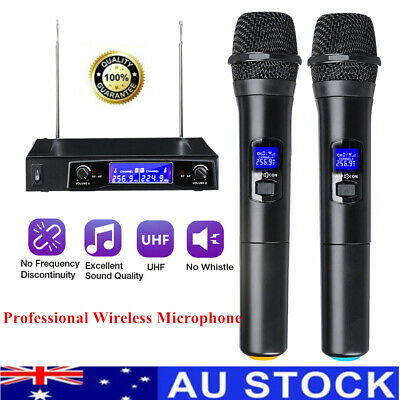Professional UHF 2 Channel Dual Wireless Microphone Mic System Handheld Karaoke