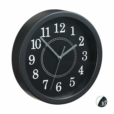 Round Wall Clock, Small Kitchen or Living Room Clock, Classic Black & White