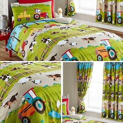 Farm Duvet Covers Green Tractor Farmyard Animals Kids Quilt Cover Bedding Sets