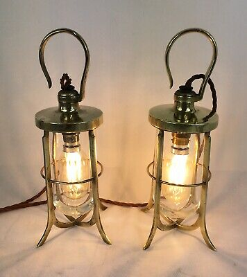 Antique 'Arts & Crafts' Ceiling / Table Brass Lamps (pair) Nautical / Salvage