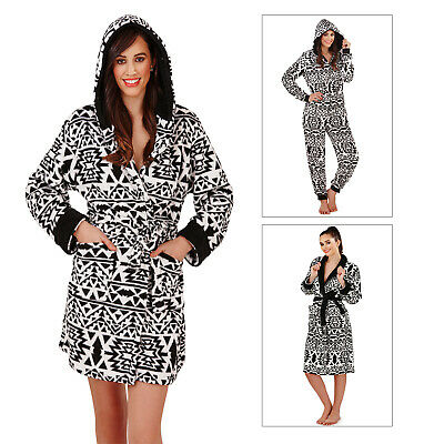 Loungeable Womens Luxury Aztec Robes Or Jumpsuit Ladies Soft Fleece Loungewear