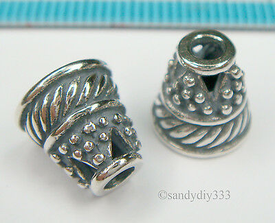 1 x  ANTIQUE BALI STERLING SILVER SWIRL BEAD CONE CAP 9.4mm SPACER BEAD #1375