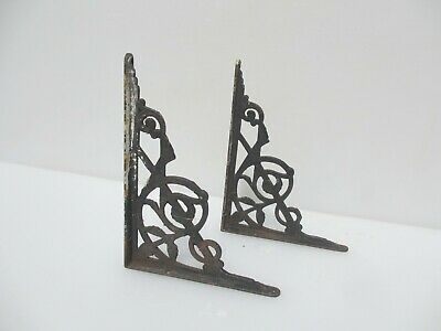 "Victorian Iron Shelf Brackets Cistern Holders Shelve Antique Old Shelving 8""D"