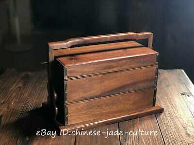 "14"" old Rose Huanghuali Wood Handle Treasure Chest Storage Boxe Food Container T"