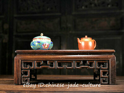 "16"" Antique Chinese Huanghuali Wood Classical Furniture Dining Center Tea Table"