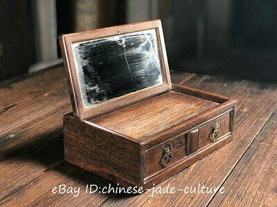 """10"""" Old Huanghuali Wood Mirror Drawer Table Desk Cupboard Cabinet Jewelry Case Y"""
